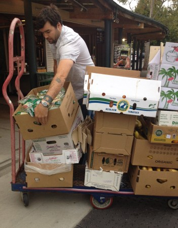 Jeff Stock, a UC Berkeley senior and student-parent, hauls crates of produce donated from Whole Foods.