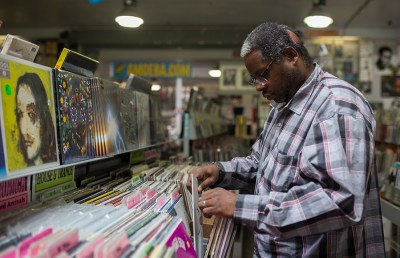Kerry Boyd, who has been listening to vinyl since his youth, browses Amoeba Music's collection.