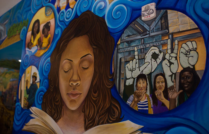 A Black History Month Mural located at Berkeley City College's Atrium.