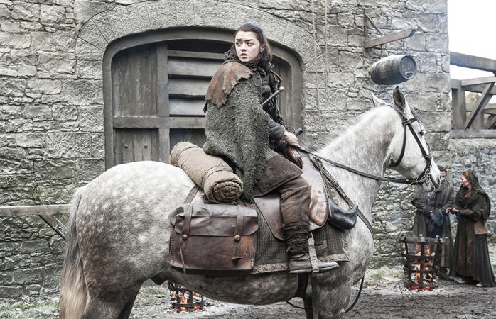 Arya Stark rides a horse in HBO's Game of Thrones
