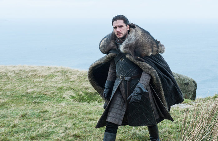 Jon Snow (Kit Harrington) confronts someone at Dragonstone.
