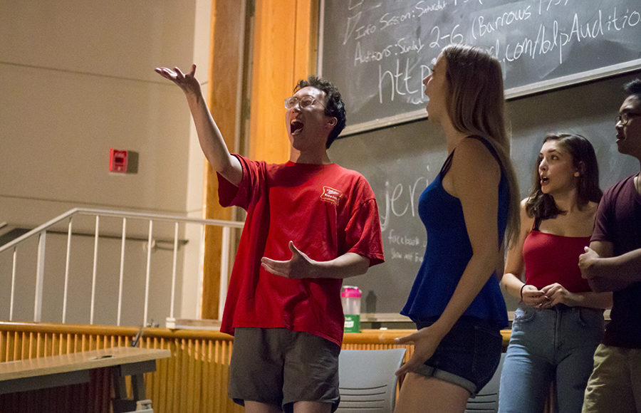 Charlie Kruse, an improviser on jericho!, takes the soul of Abbey Breneisen in a scene as part of their show.