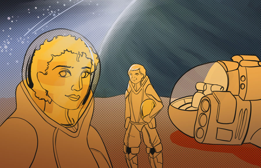 Illustration of Emily Carpenter and Namwali Serpell as astronauts in a sci-fi landscape