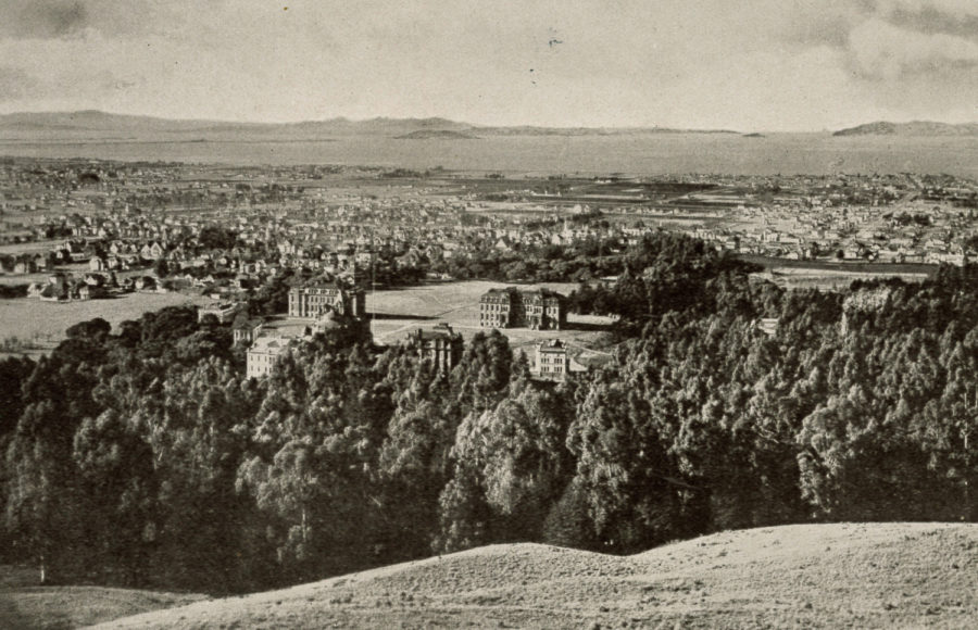 Photograph, taken in 1898 by O.V. Lange from the Berkeley Hills, of the early buildings of UC Berkeley's campus