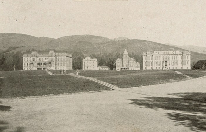 Photograph of central campus buildings by O V Lange