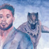 Ryan Coogler illustration, with Black Panther behind.
