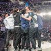 Team Liquid raises the trophy after winning the 2018 NA LCS Spring Split finals 3-0 over 100 Thieves.
