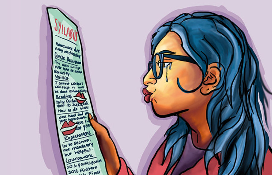 A student cries as she looks at her syllabus