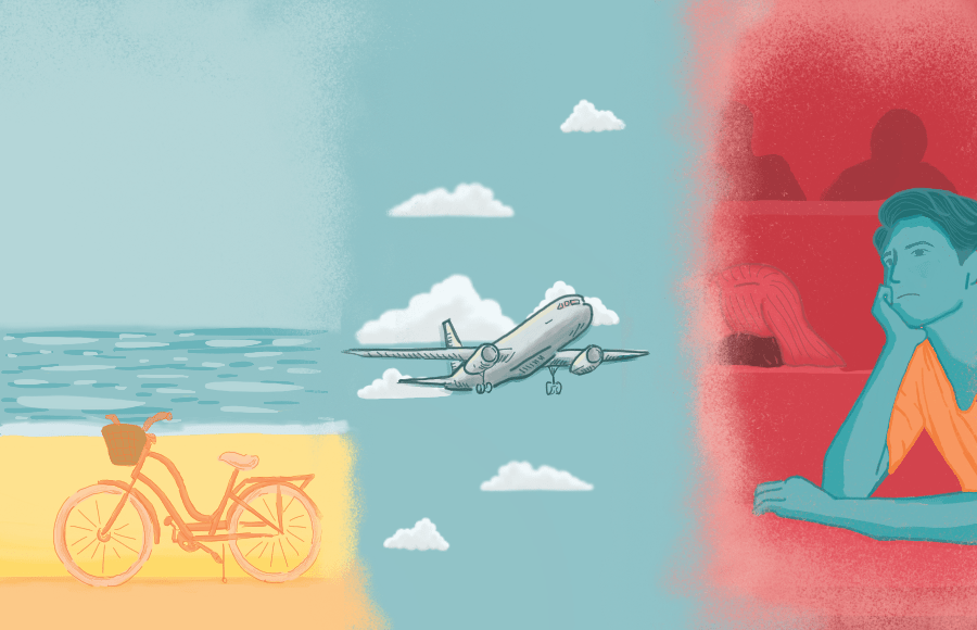 A bike on the beach, an airplane, and a person daydreaming