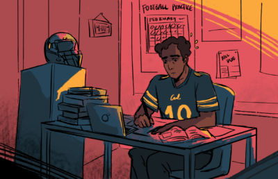 Football player working at a desk