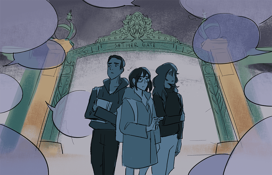 Three students standing in front of Sather Gate surrounded by text bubbles