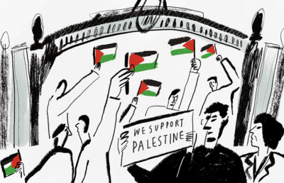 """Faculty waving Palestinian flags with sign """"we support Palestine"""" in front of Sather Gate"""
