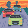 Hydrogen powered car with fossil fuel powered cars on a road