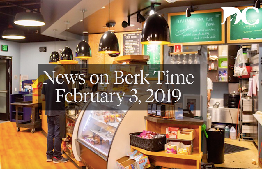 "A cafe with text reading ""News on Berk Time February 3, 2019"" on top of the image."