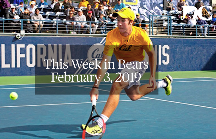 "Man strikes a tennis ball as the words ""This Week in Bears February 3, 2019"" are printed on top of the image."