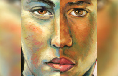 A painting of a face split in half with different colors.