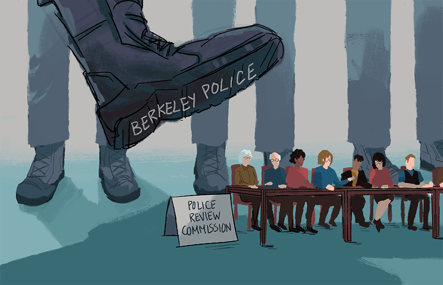 A foot labelled Berkeley Police stamping on the Police Review Commission