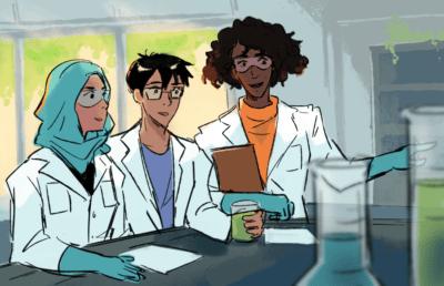 Three researchers at a lab bench