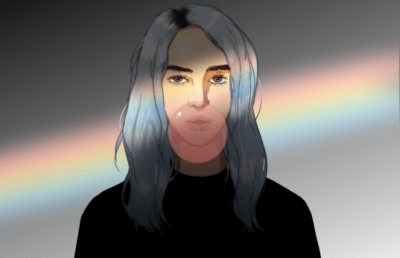 Front facing portrait of Billie Eilish blowing a bubble