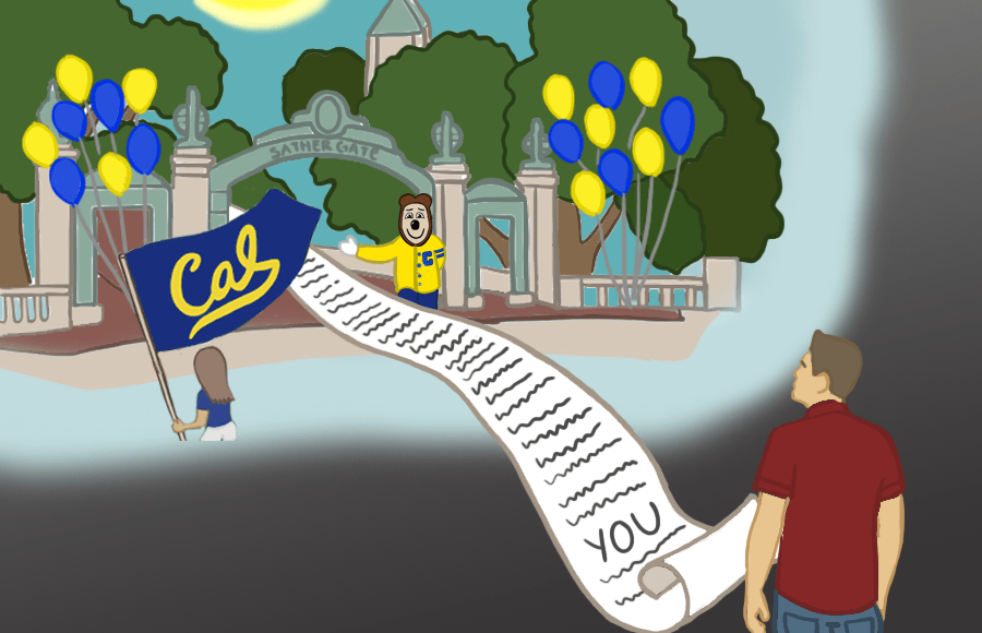 """A waitlist with the word """"YOU"""" at the bottom going into Sather Gate, with a waitlisted person waiting at the end of the list"""