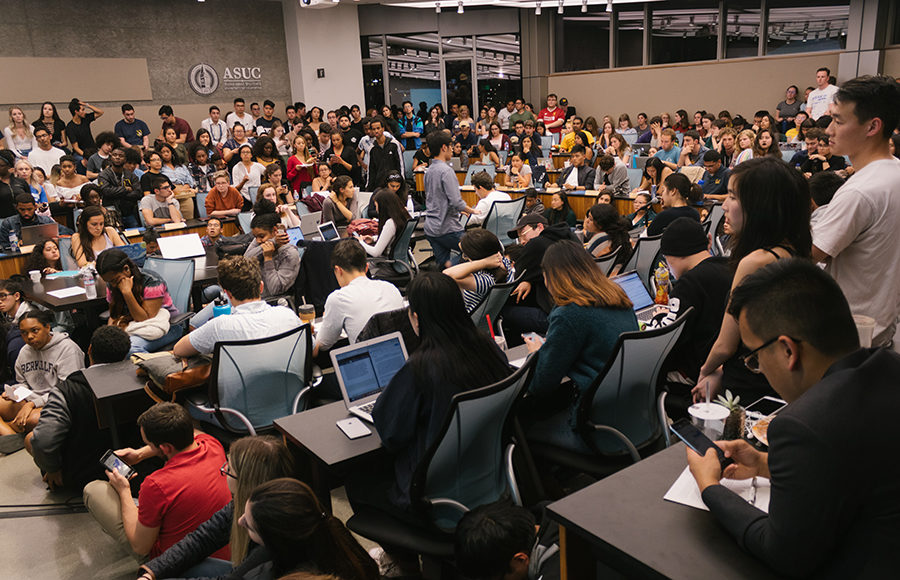 students gathered in the ASUC senate chambers in Eshleman Hall for the April 17 ASUC meeting
