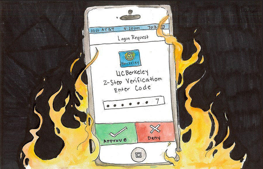 A drawing of a phone showing the Duo 2-Step Verification which is on fire.