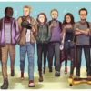 An illustration of a group of young adults walking together in a line, side by side.