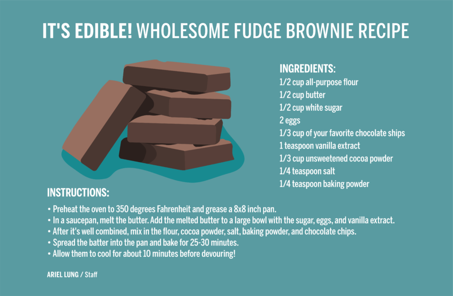 a stack of brownies with recipe ingredients and instructions