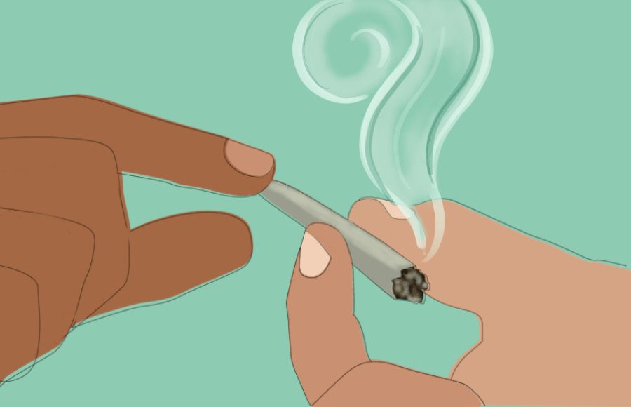 two hands passing a joint