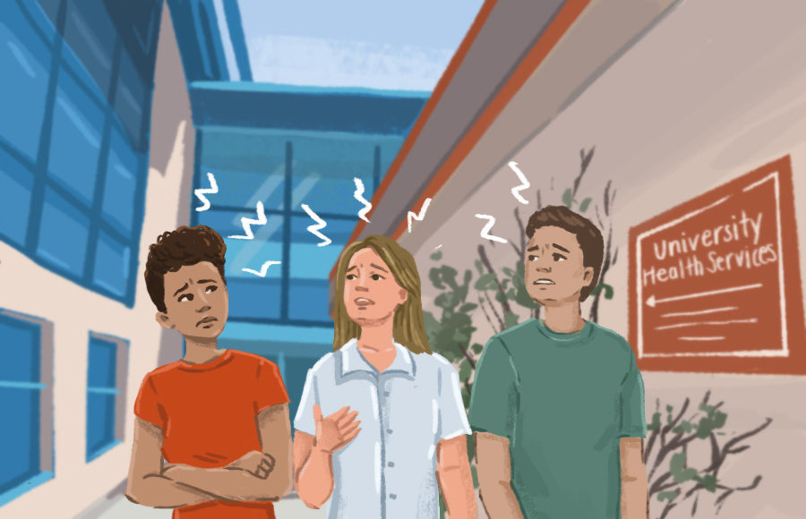 Three worried students in front of the Tang center