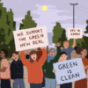 "Students holding signs that read ""We support the Green New Deal"" and ""Green is Clean"" and surrounded by trees"