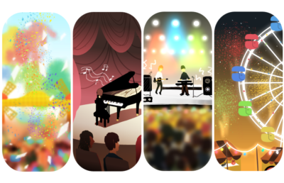 Four panels showing music performances and Ferris wheel