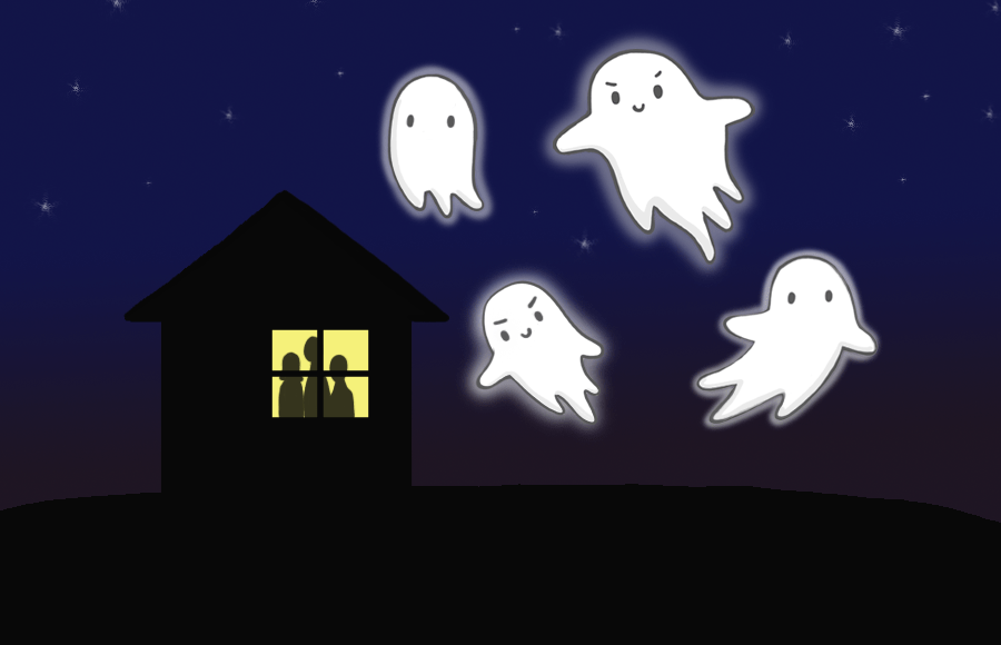 Ghosts hover above a house with the silhouette of three people on the window