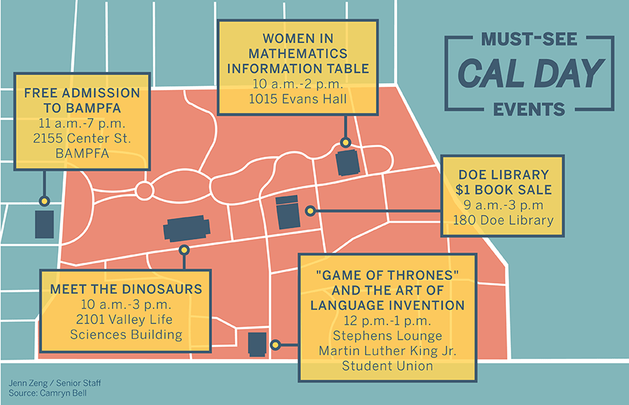 Map of Berkeley campus with locations of Cal Day events