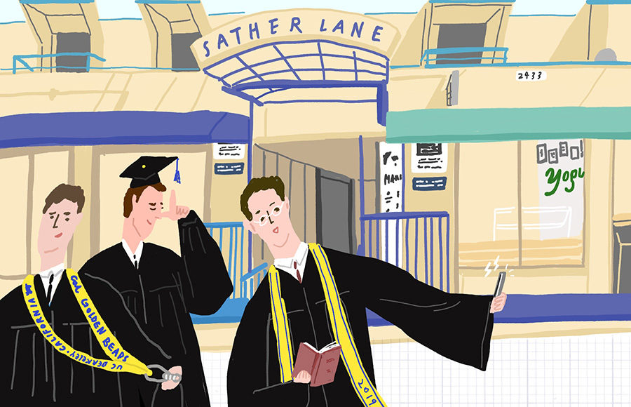 3 students with graduation gowns and caps taking a selfie in front of Sather Lane