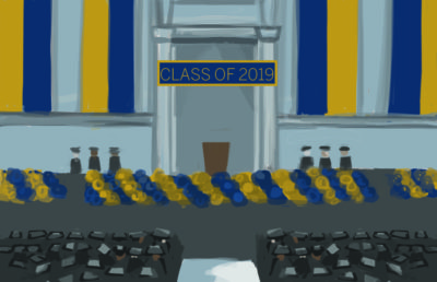 "Graduation ceremony with banner that reads ""Class of 2019"""