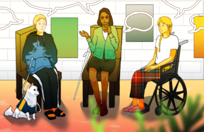 Person with a dog, person with a cane, and person in a wheelchair sitting and talking