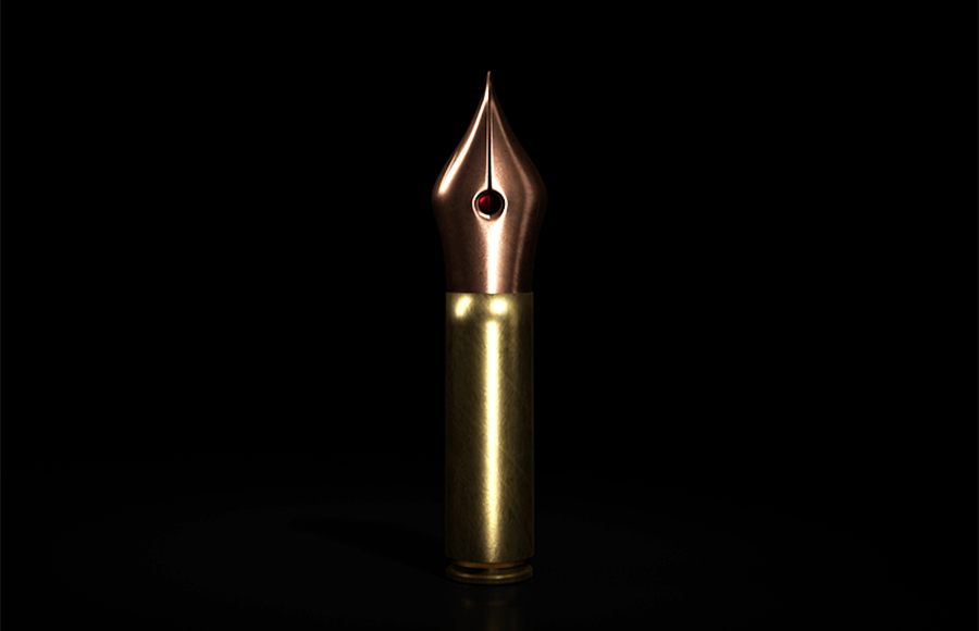 A single bullet stands before a black background.