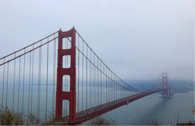 Golden Gate Bridge and foggy skies