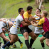 Cal rugby players fight for the ball