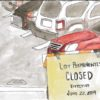 """A parking lot with a sign that reads """"Lot permanently closed"""""""