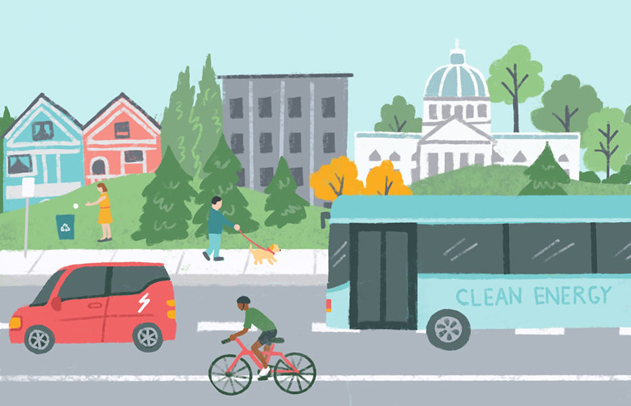 Illustration of clean energy transportation in bay area