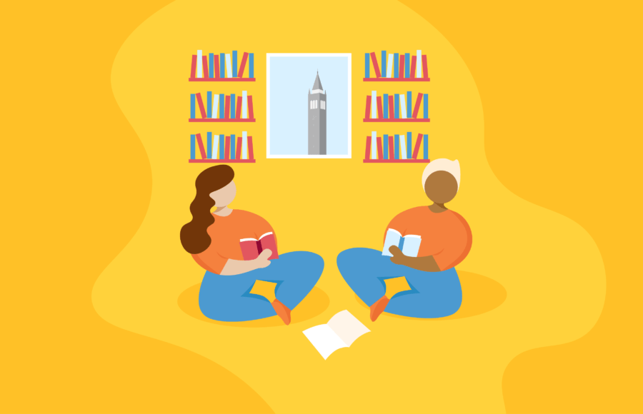Two people sitting and reading books