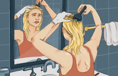 illustration of woman bleaching hair