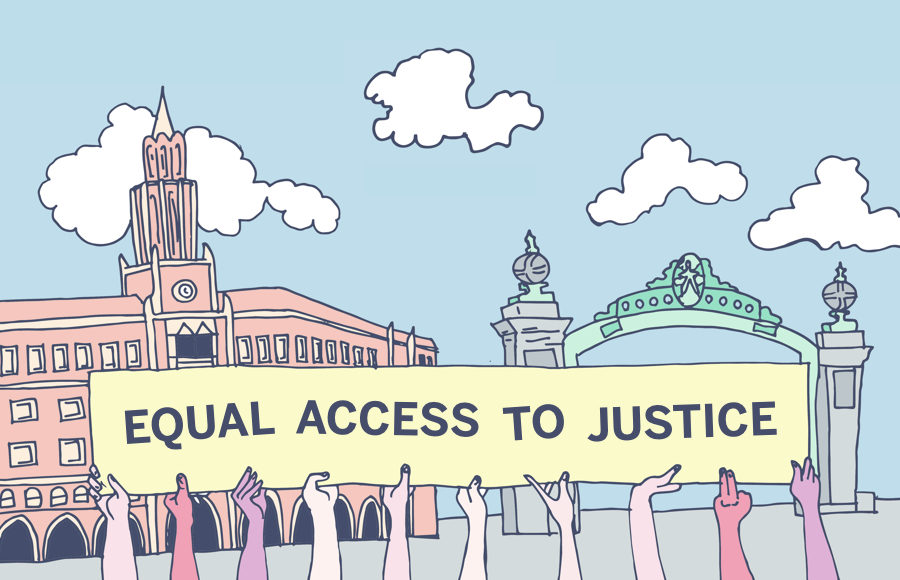 "Illustration of hands holding a sign that reads ""Equal access to justice"" in front of Sather Gate"