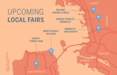 Map showing upcoming local fair names and locations