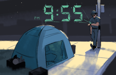 Illustration of a police officer looking at time that reads 9:55pm in front of a tent.