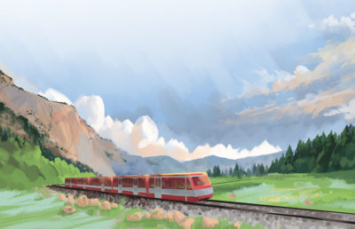 Illustration of a train with nature scenery