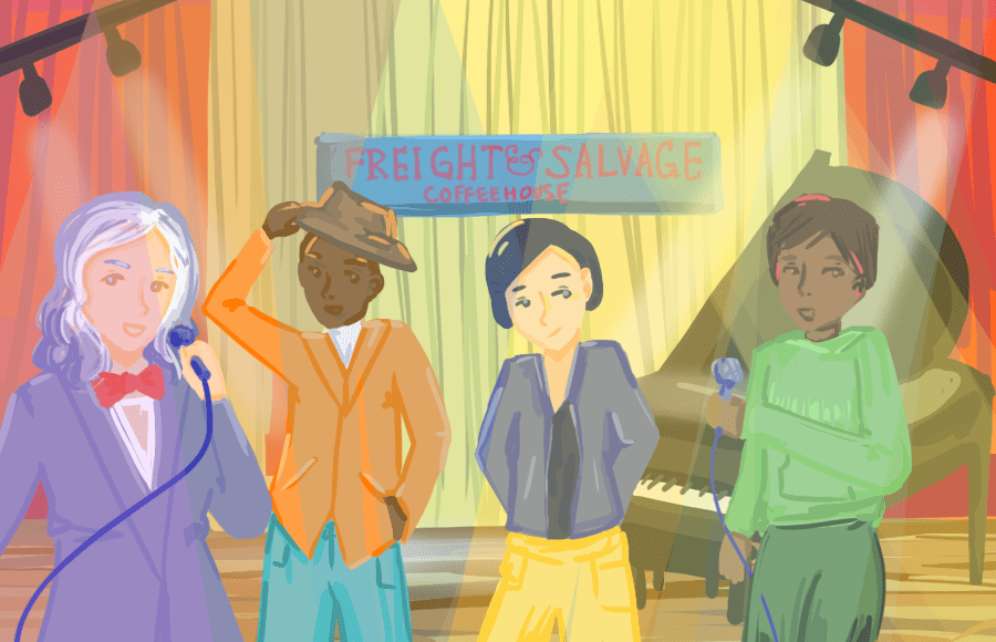 Illustration of performers onstage at Freight and Salvage Coffeehouse