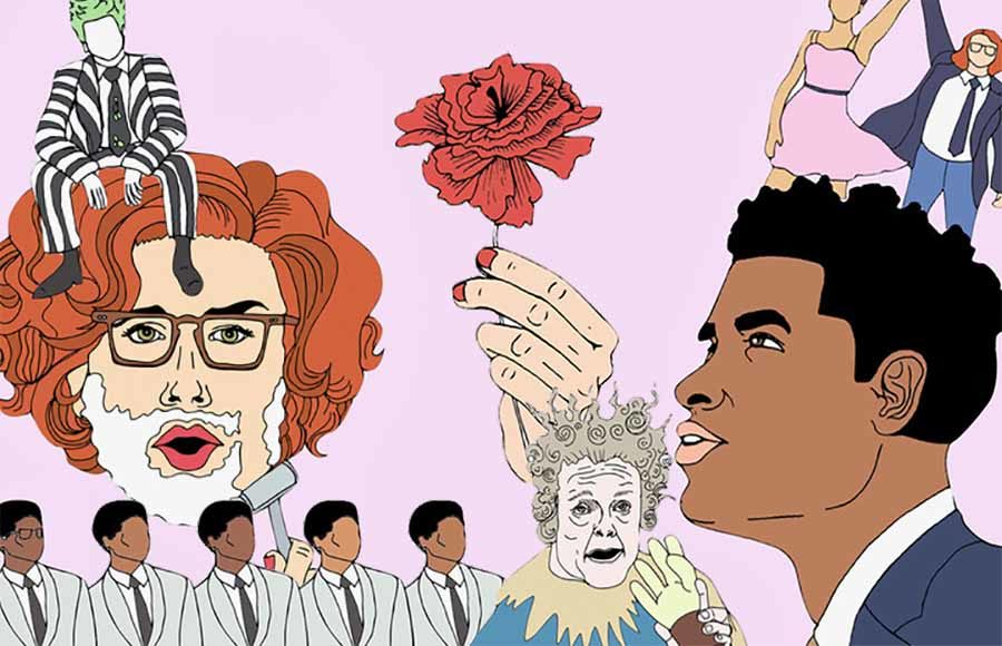 Illustration of scenes from shows nominated in the 2019 Tonys